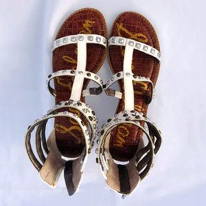 Sam Edelman white gladiator studded sandals sz 9M